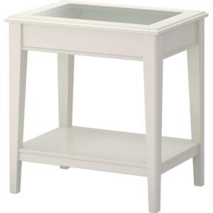 ЛИАТОРП Придиванный столик белый/стекло 57x40 см - Артикул: 403.832.52
