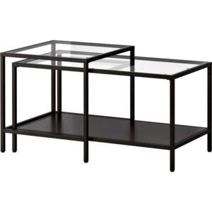 ВИТШЁ Комплект столов, 2 шт черно-коричневый/стекло 90x50 см - Артикул: 803.833.06