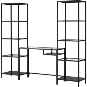 ВИТШЁ Стеллаж+стол д/ноутбука черно-коричневый/стекло 202x175 см - Артикул: 792.944.91