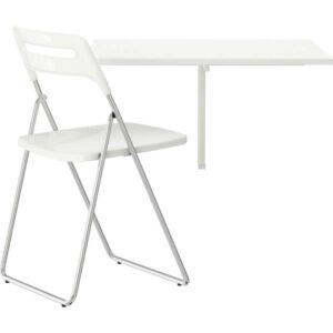 НОРБЕРГ / НИССЕ Стол и 1 стул белый/хромированный белый 74 см - Артикул: 492.291.62
