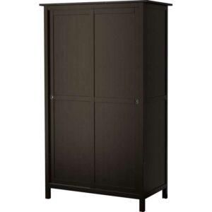 ХЕМНЭС Гардероб с 2 раздвижными дверцами черно-коричневый 120x197 см - Артикул: 703.824.92