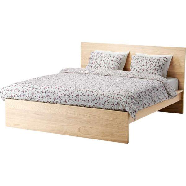 МАЛЬМ Каркас кровати, высокий, дубовый шпон, беленый 160x200 см. Артикул: 892.109.43