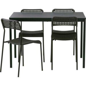 ТЭРЕНДО / АДДЕ Стол и 4 стула черный 110 см - Артикул: 792.297.78