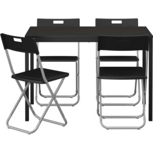 ТЭРЕНДО / ГУНДЕ Стол и 4 стула черный 110 см - Артикул: 992.297.77