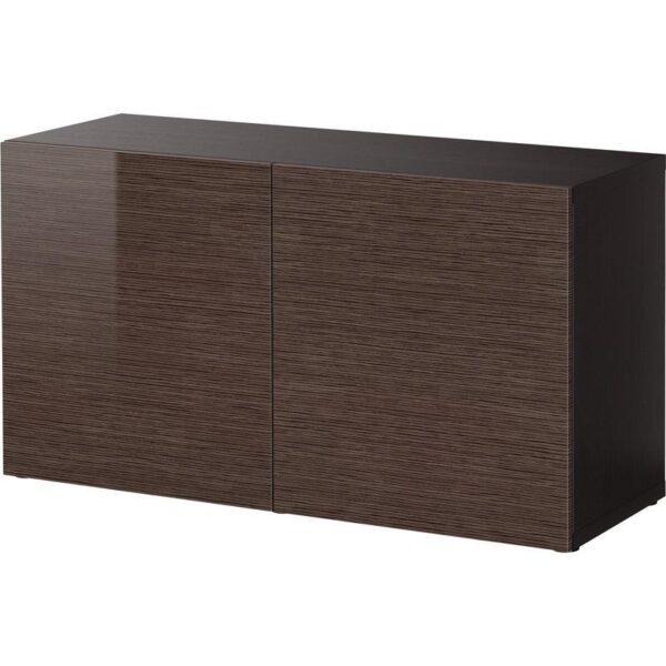 БЕСТО Стеллаж с дверьми черно-коричневый/Сельсвикен глянцевый/коричневый 120x40x64 см - Артикул: 892.443.87