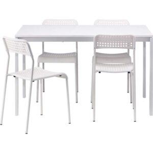МЕЛЬТОРП / АДДЕ Стол и 4 стула белый 125 см - Артикул: 992.299.18