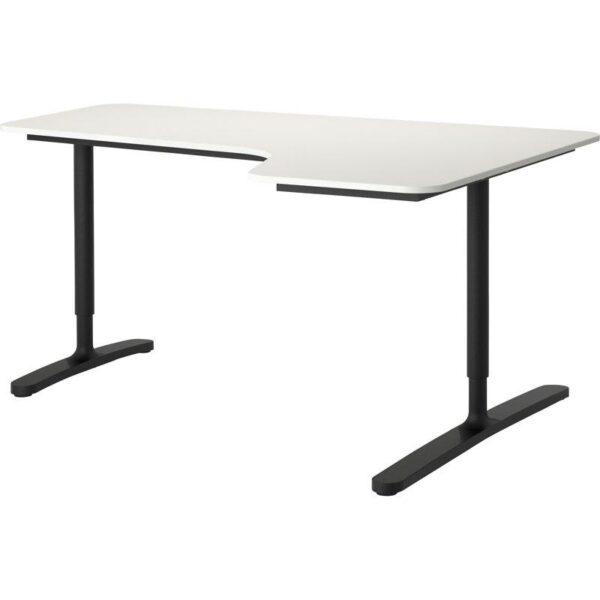 БЕКАНТ Углов письм стол правый белый/черный 160x110 см - Артикул: 592.784.49