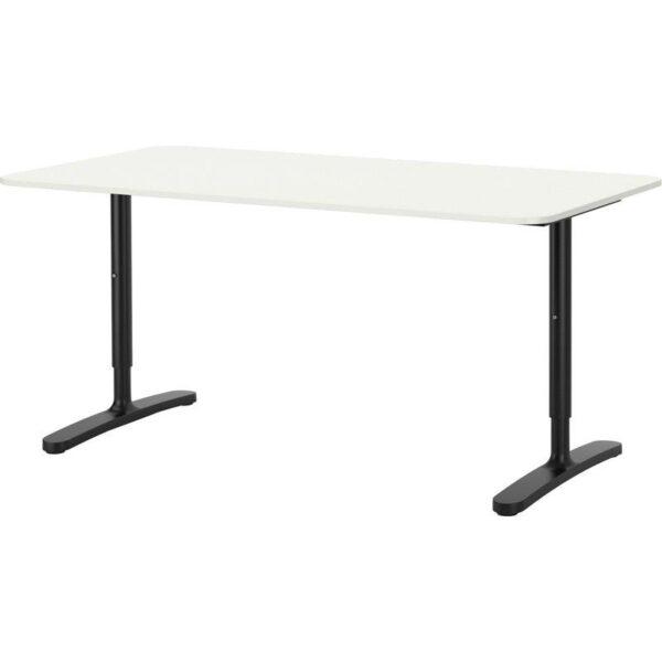 БЕКАНТ Письменный стол белый/черный 160x80 см - Артикул: 292.786.34