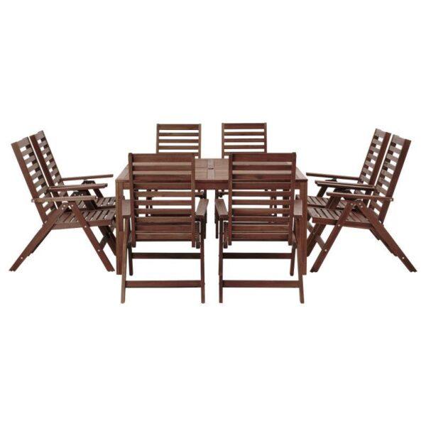 ЭПЛАРО Стол+8кресел, для сада коричневая морилка - Артикул: 192.898.12
