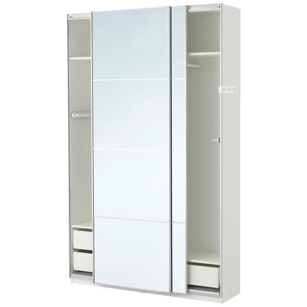 ПАКС Гардероб белый/Аули зеркальное стекло 150x44x236 см - Артикул: 990.299.81