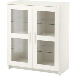 БРИМНЭС Шкаф с дверями стекло/белый 78x95 см - Артикул: 403.833.51