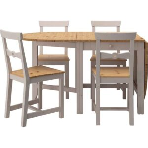 ГЭМЛЕБИ Стол и 4 стула светлая морилка антик/серый 67 см - Артикул: 192.298.42
