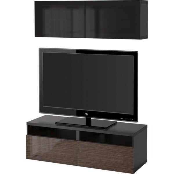 БЕСТО Шкаф для ТВ, комбин/стеклян дверцы черно-коричневый/Сельсвикен глянцевый/коричневый дымчат стекло 120x20/40x166 см   Артикул: 592.504.45