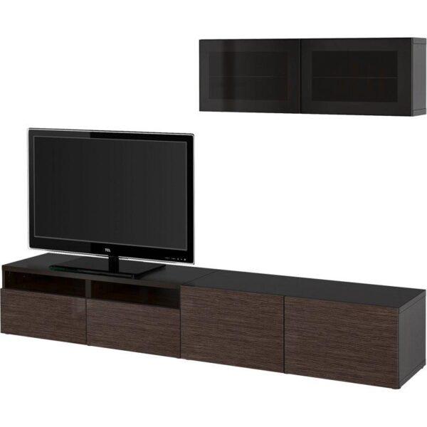 БЕСТО Шкаф для ТВ, комбин/стеклян дверцы черно-коричневый/Сельсвикен глянцевый/коричневый дымчат стекло 240x20/40x166 см | Артикул: 292.509.32