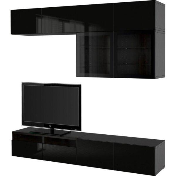 БЕСТО Шкаф для ТВ, комбин/стеклян дверцы черно-коричневый/Сельсвикен глянцевый/черный прозрачное стекло 240x40x230 см | Артикул: 292.522.81