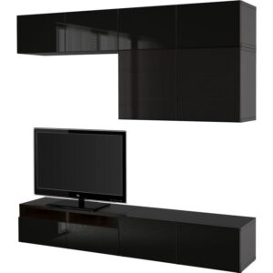 БЕСТО Шкаф для ТВ, комбин/стеклян дверцы черно-коричневый/Сельсвикен глянцевый/черный дымчатое стекло 240x40x230 см | Артикул: 092.522.82