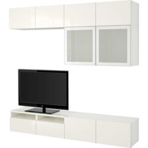 БЕСТО Шкаф для ТВ, комбин/стеклян дверцы белый/Сельсвикен глянцевый/белый матовое стекло 240x40x230 см | Артикул: 792.522.88