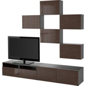 БЕСТО Шкаф для ТВ, комбинация черно-коричневый/Сельсвикен глянцевый/коричневый 240x20/40x204 см | Артикул: 592.516.47