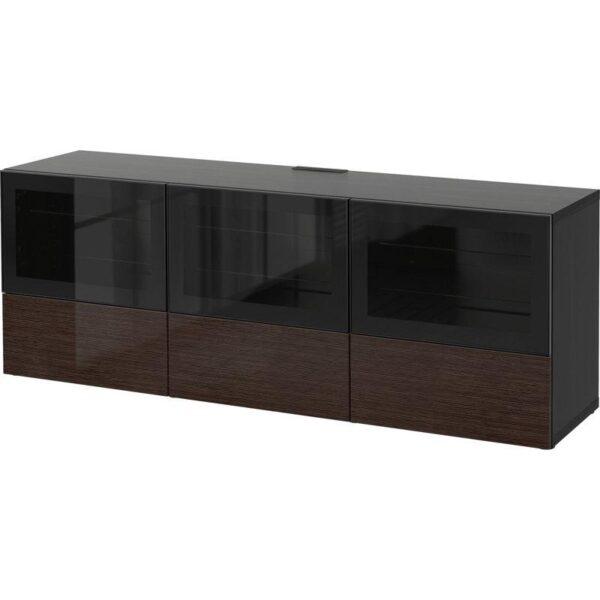 БЕСТО Тумба под ТВ, с дверцами и ящиками черно-коричневый/Сельсвикен глянцевый/коричневый прозрач стекло 180x40x64 см | Артикул: 092.497.65