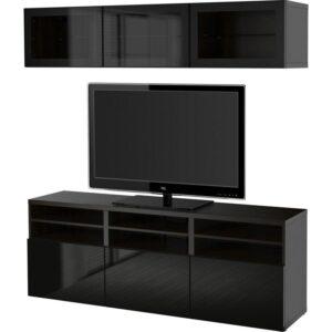 БЕСТО Шкаф для ТВ, комбин/стеклян дверцы черно-коричневый/Сельсвикен глянцевый/черный прозрачное стекло 180x40x192 см | Артикул: 092.498.26