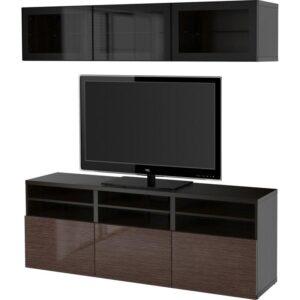 БЕСТО Шкаф для ТВ, комбин/стеклян дверцы черно-коричневый/Сельсвикен глянцевый/коричневый прозрач стекло 180x40x192 см | Артикул: 692.498.28