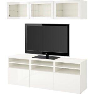 БЕСТО Шкаф для ТВ, комбин/стеклян дверцы белый/Сельсвикен глянцевый/белый прозрачное стекло 180x40x192 см | Артикул: 192.498.35