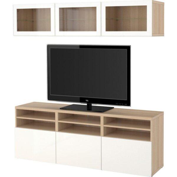 БЕСТО Шкаф для ТВ, комбин/стеклян дверцы под беленый дуб/Сельсвикен глянцевый/белый прозрачное стекло 180x40x192 см | Артикул: 192.498.40