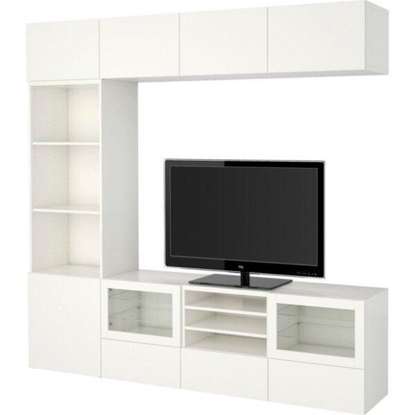 БЕСТО Шкаф для ТВ, комбин/стеклян дверцы Лаппвикен/Синдвик белый прозрачное стекло 240x40x230 см | Артикул: 392.500.31
