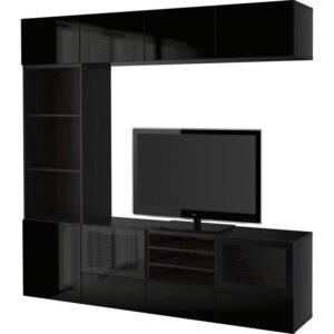 БЕСТО Шкаф для ТВ, комбин/стеклян дверцы черно-коричневый/Сельсвикен глянцевый/черный прозрачное стекло 240x40x230 см | Артикул: 392.501.73