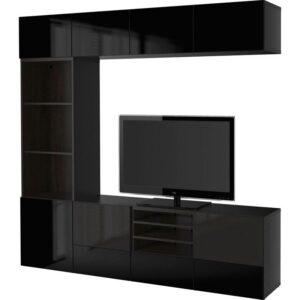 БЕСТО Шкаф для ТВ, комбин/стеклян дверцы черно-коричневый/Сельсвикен глянцевый/черный дымчатое стекло 240x40x230 см   Артикул: 492.501.58