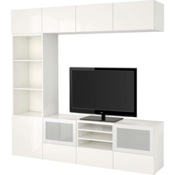 БЕСТО Шкаф для ТВ, комбин/стеклян дверцы белый/Сельсвикен глянцевый/белый матовое стекло 240x40x230 см | Артикул: 992.501.65