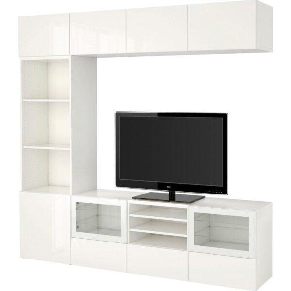 БЕСТО Шкаф для ТВ, комбин/стеклян дверцы белый/Сельсвикен глянцевый/белый прозрачное стекло 240x40x230 см   Артикул: 892.501.80