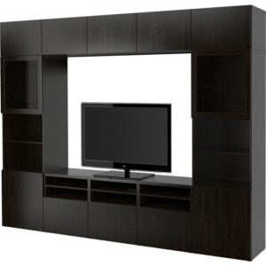 БЕСТО Шкаф для ТВ, комбин/стеклян дверцы Лаппвикен/Синдвик черно-коричневый прозрачное стекло 300x40x230 см | Артикул: 592.500.25