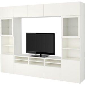БЕСТО Шкаф для ТВ, комбин/стеклян дверцы Лаппвикен/Синдвик белый прозрачное стекло 300x40x230 см | Артикул: 392.500.26