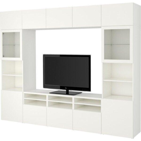 БЕСТО Шкаф для ТВ, комбин/стеклян дверцы Лаппвикен/Синдвик белый прозрачное стекло 300x40x230 см   Артикул: 392.500.26