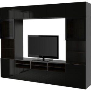 БЕСТО Шкаф для ТВ, комбин/стеклян дверцы черно-коричневый/Сельсвикен глянцевый/черный прозрачное стекло 300x40x230 см | Артикул: 192.501.93