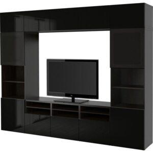 БЕСТО Шкаф для ТВ, комбин/стеклян дверцы черно-коричневый/Сельсвикен глянцевый/черный дымчатое стекло 300x40x230 см | Артикул: 192.502.11