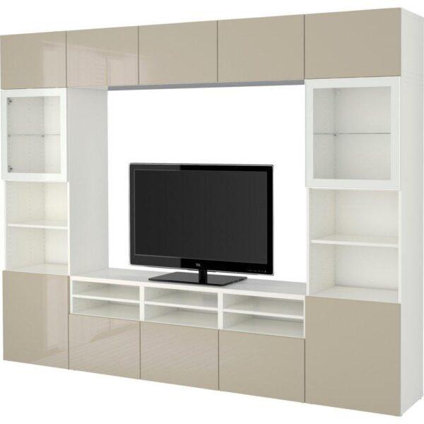 БЕСТО Шкаф для ТВ, комбин/стеклян дверцы белый/Сельсвикен глянцевый/бежевый прозрачное стекло 300x40x230 см   Артикул: 092.501.98