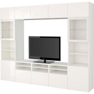 БЕСТО Шкаф для ТВ, комбин/стеклян дверцы белый/Сельсвикен глянцевый/белый прозрачное стекло 300x40x230 см | Артикул: 892.502.17