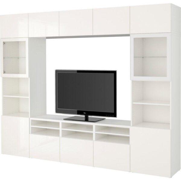 БЕСТО Шкаф для ТВ, комбин/стеклян дверцы белый/Сельсвикен глянцевый/белый прозрачное стекло 300x40x230 см   Артикул: 892.502.17