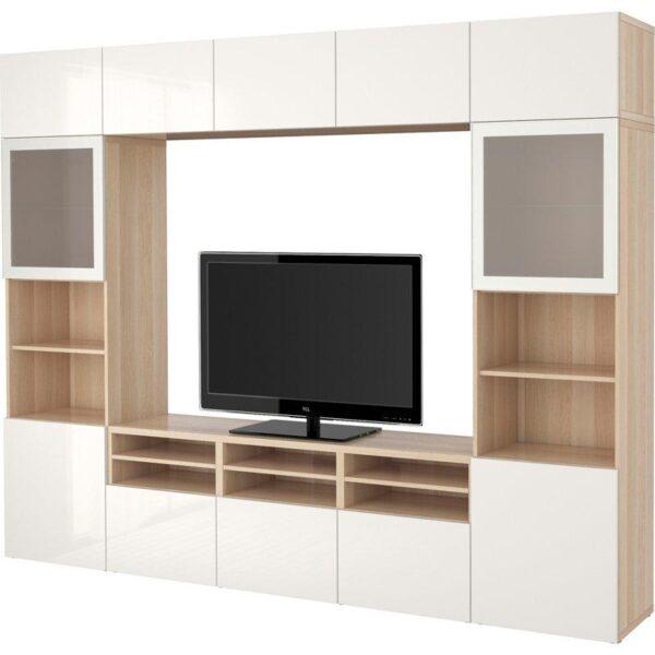БЕСТО Шкаф для ТВ, комбин/стеклян дверцы под беленый дуб/Сельсвикен глянцевый/белый матовое стекло 300x40x230 см | Артикул: 992.502.07