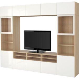 БЕСТО Шкаф для ТВ, комбин/стеклян дверцы под беленый дуб/Сельсвикен глянцевый/белый прозрачное стекло 300x40x230 см | Артикул: 892.502.22