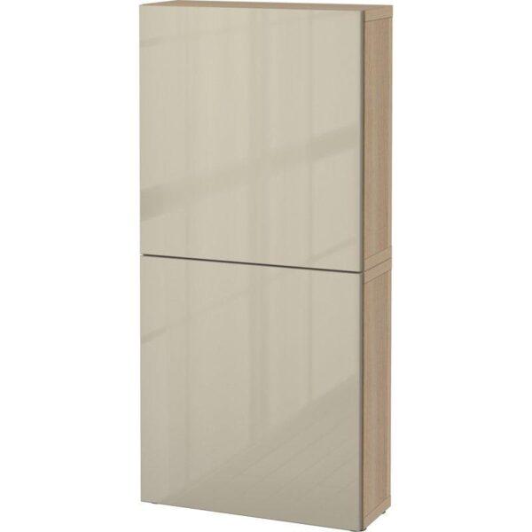 БЕСТО Навесной шкаф с 2 дверями под беленый дуб/Сельсвикен глянцевый/бежевый 60x20x128 см   Артикул: 092.489.35