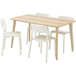 ЛИСАБО / ЯН-ИНГЕ Стол и 4 стула ясеневый шпон/белый 140x78 см - Артикул: 892.299.09