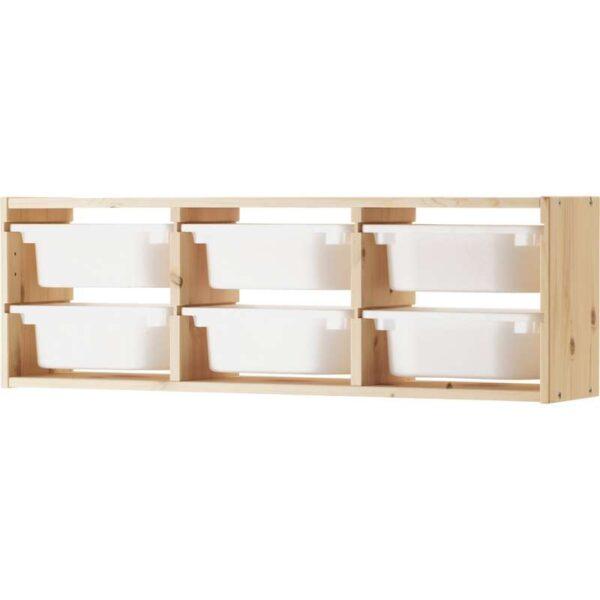 ТРУФАСТ Настенный модуль для хран светлая беленая сосна/белый 93x21x30 см - Артикул: 192.223.84