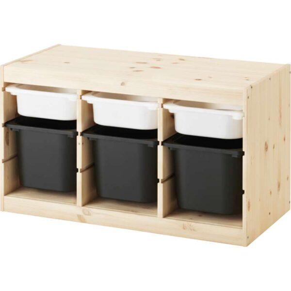 ТРУФАСТ Комбинация д/хранения+контейнерами светлая беленая сосна белый/черный 94x44x52 см - Артикул: 892.223.90