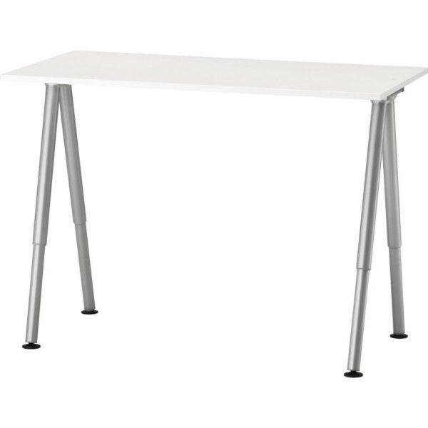 ТИГЕ Письменный стол белый/серебристый 120x60 см - Артикул: 892.787.87