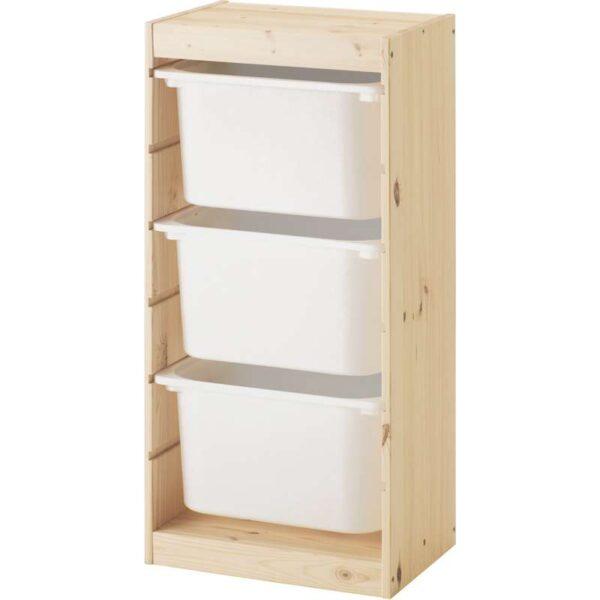 ТРУФАСТ Комбинация д/хранения+контейнерами светлая беленая сосна/белый 44x30x91 см - Артикул: 792.223.76