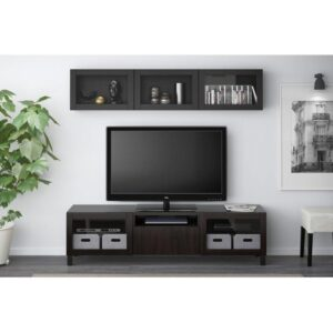 БЕСТО Шкаф для ТВ, комбин/стеклян дверцы Лаппвикен/Синдвик черно-коричневый прозрачное стекло 180x20/40x166 см | Артикул: 092.509.90
