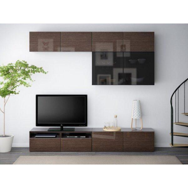 БЕСТО Шкаф для ТВ, комбин/стеклян дверцы черно-коричневый/Сельсвикен глянцевый/коричневый дымчат стекло 240x40x230 см | Артикул: 692.522.84